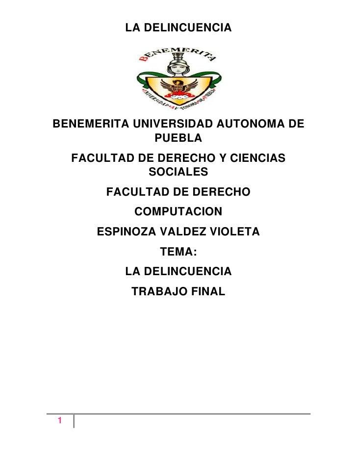 BENEMERITA UNIVERSIDAD AUTONOMA DE PUEBLA<br />FACULTAD DE DERECHO Y CIENCIAS SOCIALES<br />FACULTAD DE DERECHO<br />COMPU...