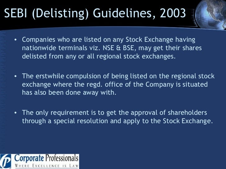 listing and delisting Planning, opinions and advisory: comprehensive delisting management: audit- on line/ physical: listing related issues: procurement of consent order from sebi.