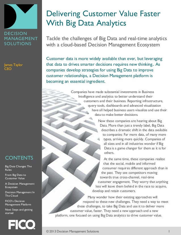 Delivering customer value faster with Big Data analytics