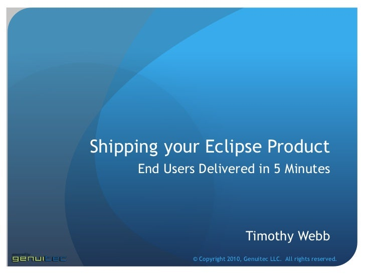 Delivering Eclipse Projects