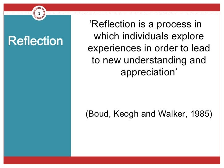 1             'Reflection is a process in               which individuals exploreReflection             experiences in ord...