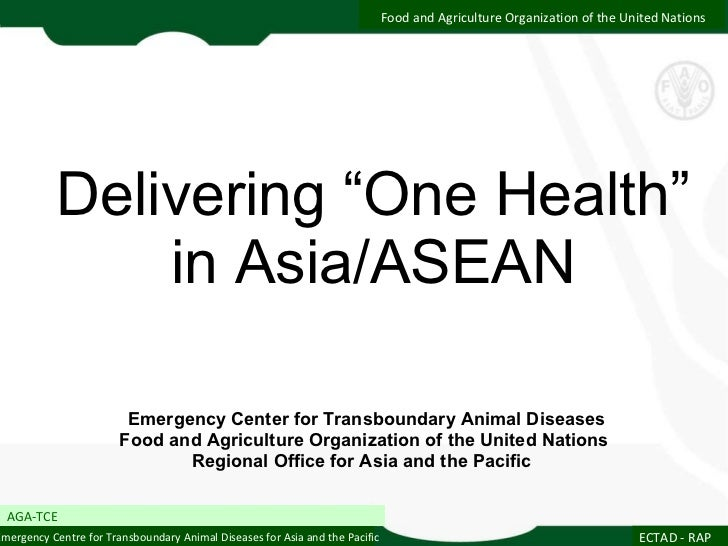 "Delivering ""One Health"" in Asia/ASEAN Emergency Center for Transboundary Animal Diseases Food and Agriculture Organization..."