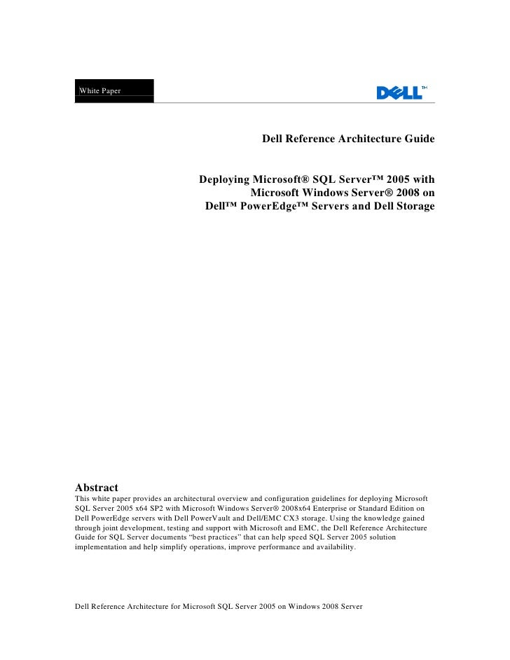 Dell Reference Architecture Guide Deploying Microsoft® SQL ...