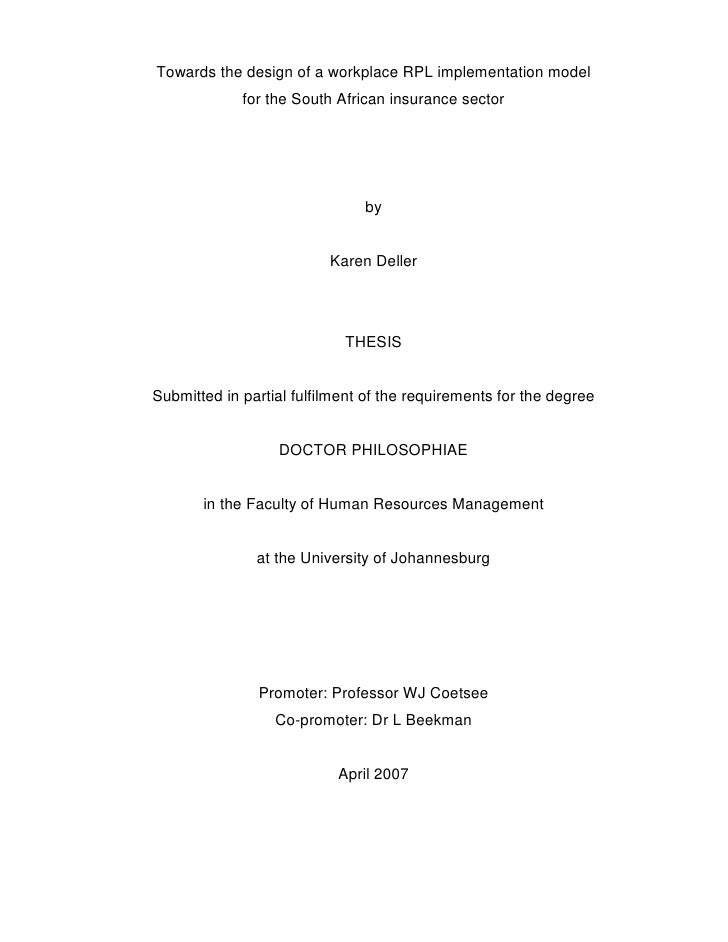 Dr. Karen Deller RPL Thesis