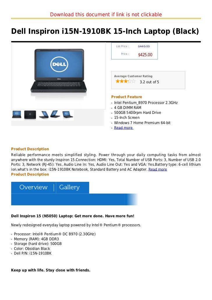 Download this document if link is not clickableDell Inspiron i15N-1910BK 15-Inch Laptop (Black)                           ...