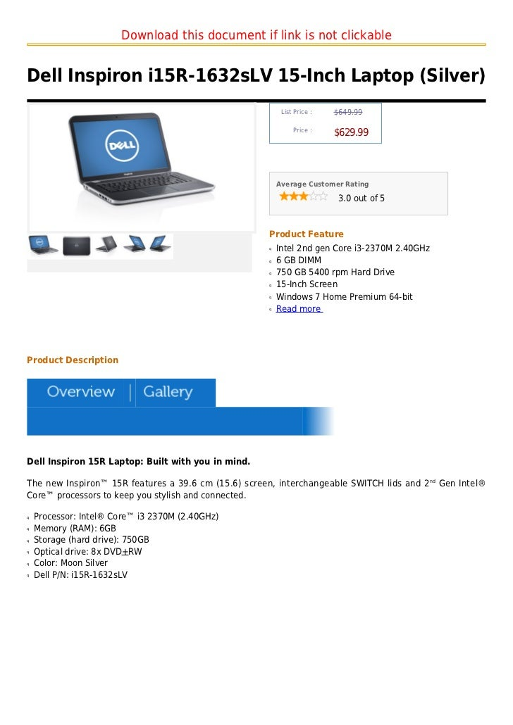 Download this document if link is not clickableDell Inspiron i15R-1632sLV 15-Inch Laptop (Silver)                         ...