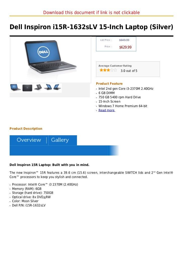 Dell inspiron i15 r 1632slv 15-inch laptop (silver)