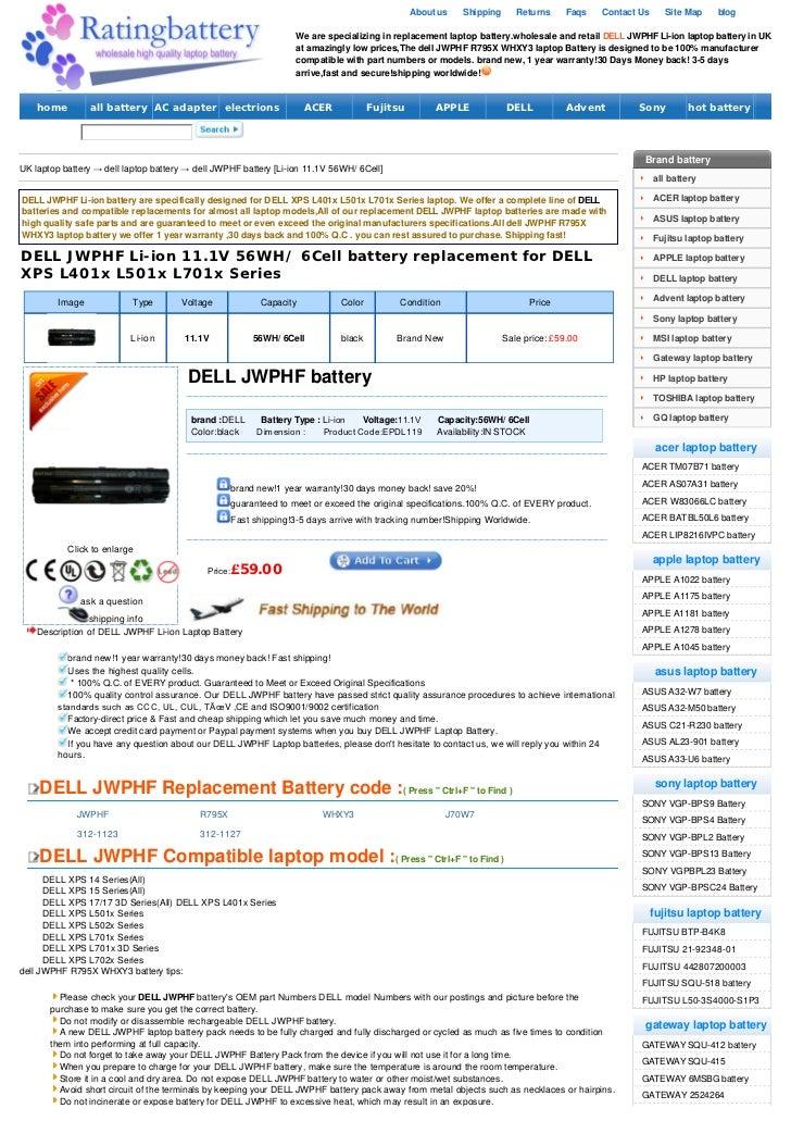 Dell jwphf battery