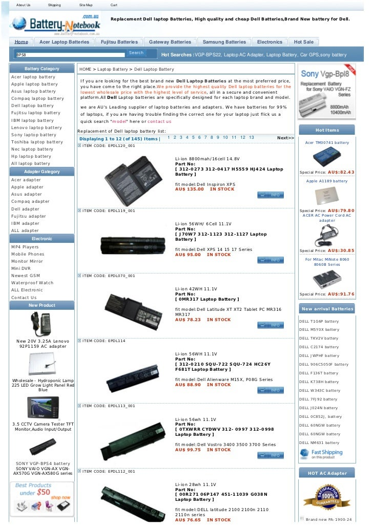 About Us          Shipping    Site Map       Cart                                               Replacement Dell laptop Ba...