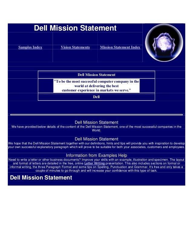 Dell Mission Statement       Samples Index                  Vision Statements              Mission Statement Index        ...