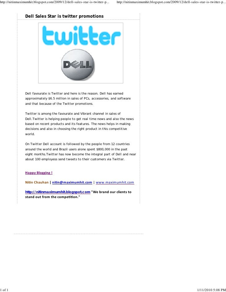 Dell Sales Star Is Twitter Promotions