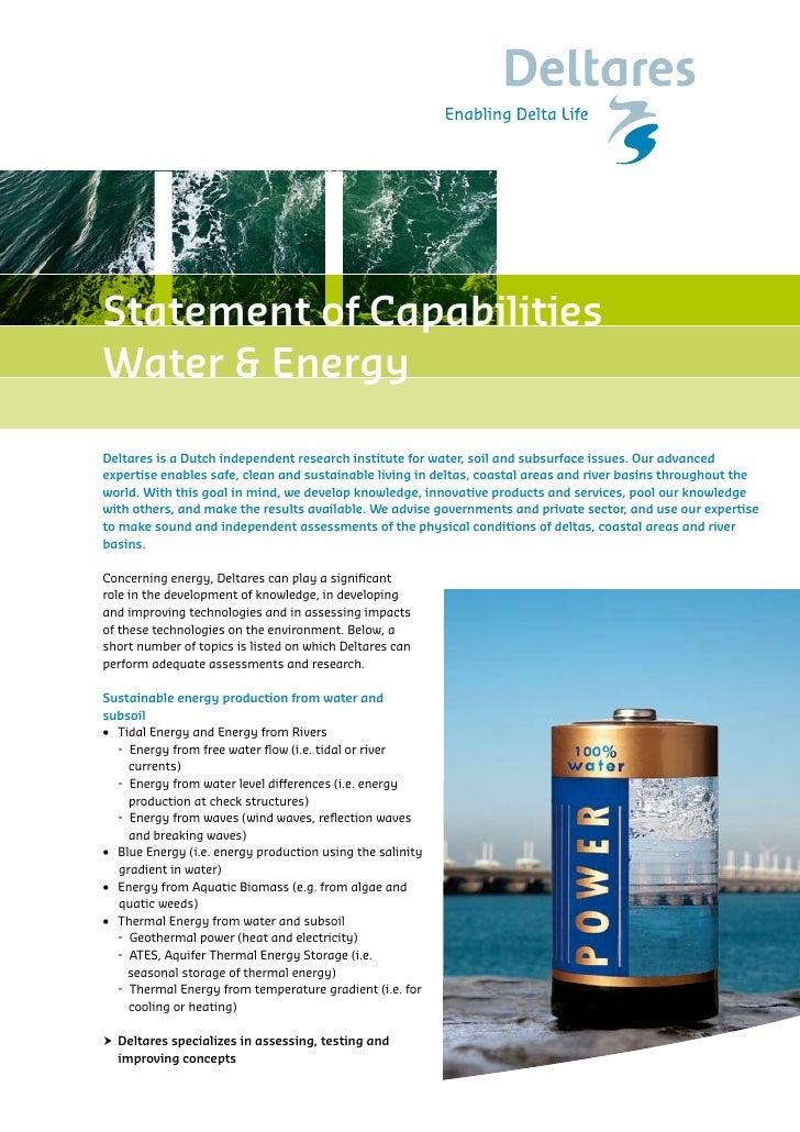 Delltares statement of capabilities water & energy 2010