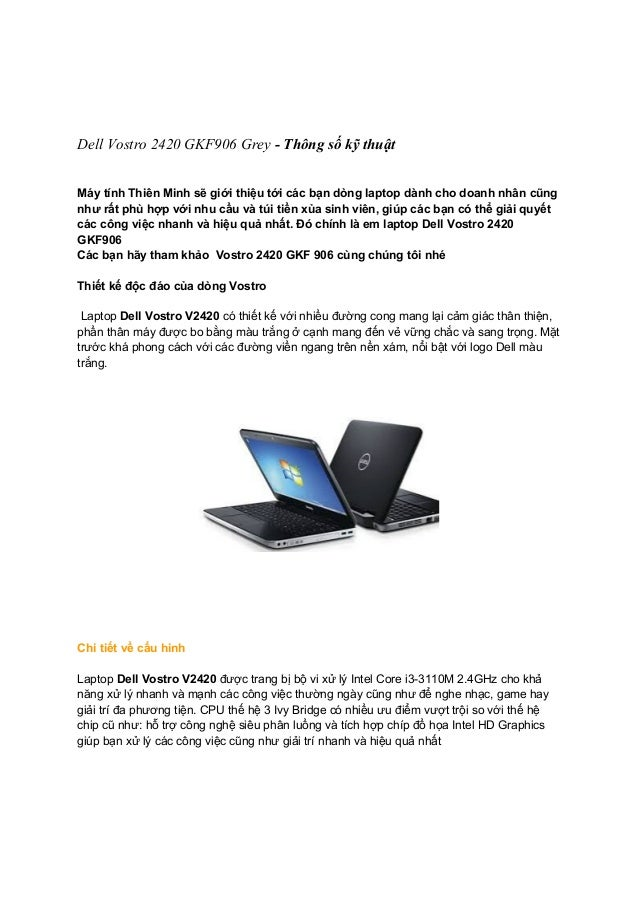 Dell Vostro 2420 GKF906 Grey - Thông số kỹ thuật Máy tính Thiên Minh sẽ giới thiệu tới các bạn dòng laptop dành cho doanh ...