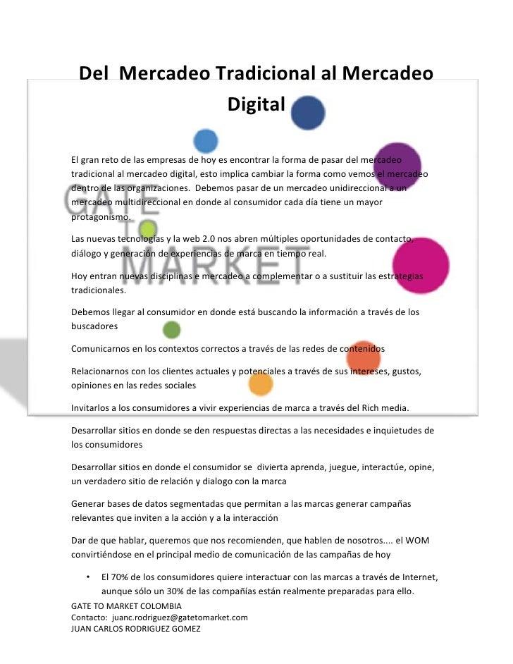Del  mercadeo tradicional al mercadeo digital