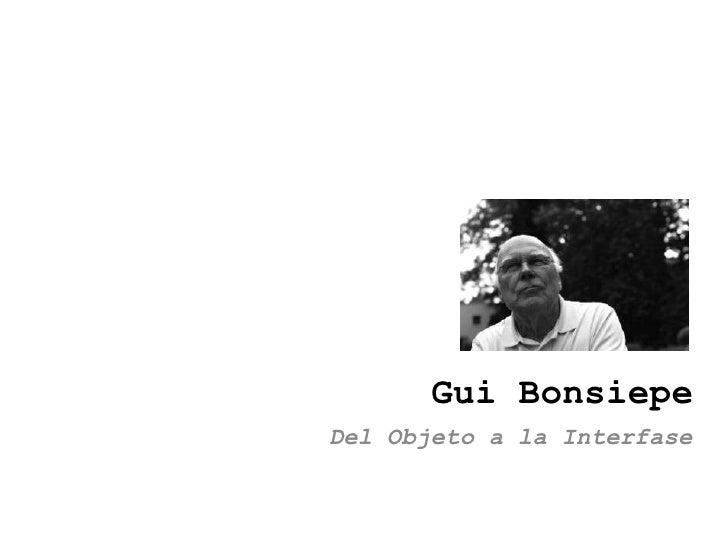 Gui Bonsiepe Del Objeto a la Interfase