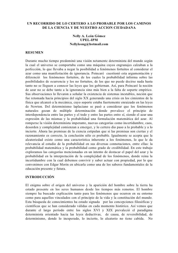 UN RECORRIDO DE LO CERTERO A LO PROBABLE POR LOS CAMINOS         DE LA CIENCIA Y DE NUESTRO ACCION CIUDADANA              ...