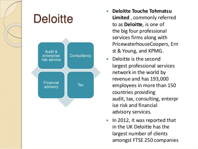 Deloitte Audit & enterprise risk service Consultancy Financial advisory Tax  Deloitte Touche Tohmatsu Limited , commonly ...