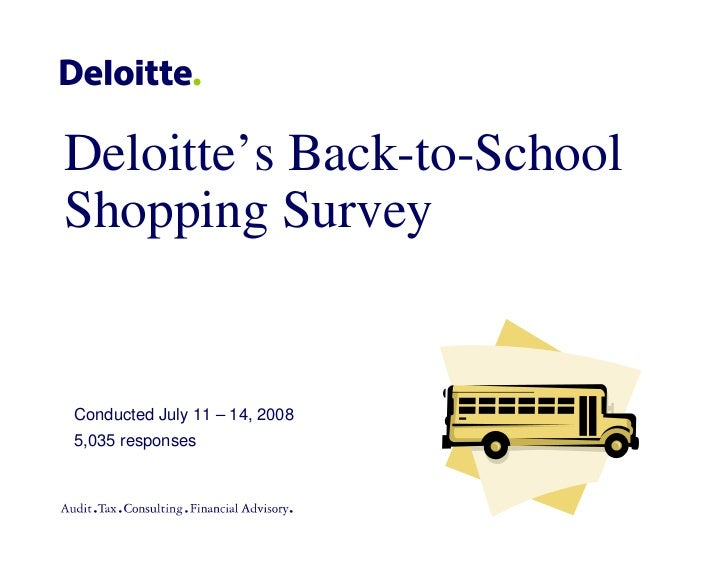Deloitte's Back-to-School Shopping Survey   Conducted July 11 – 14, 2008 5,035 responses