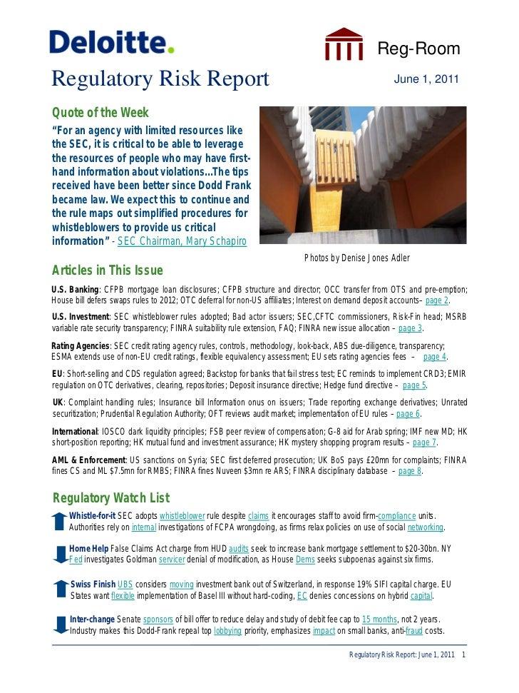 Reg-RoomRegulatory Risk Report                                                                                   June 1, 2...