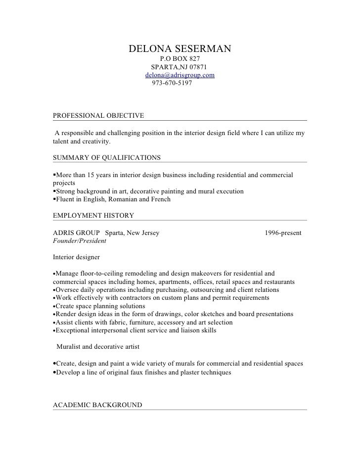 Delona interior design resume for Interior design 07871