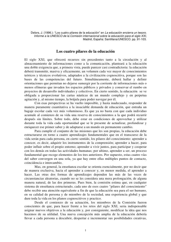 """Delors, J. (1996.): """"Los cuatro pilares de la educación"""" en La educación encierra un tesoro.       Informe a la UNESCO de ..."""