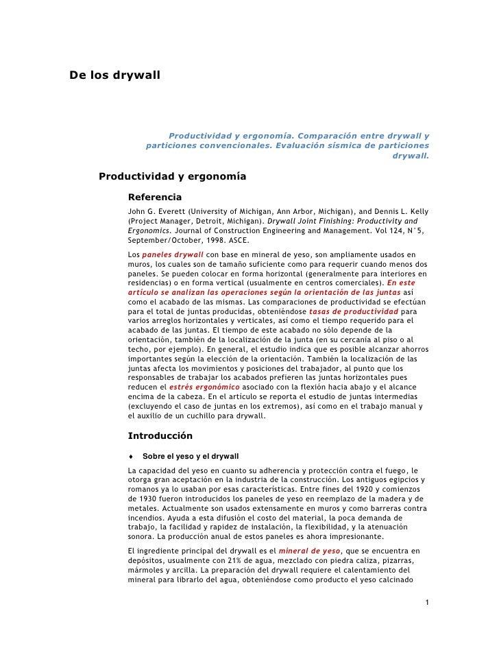 De los drywall                       Productividad y ergonomía. Comparación entre drywall y              particiones conve...