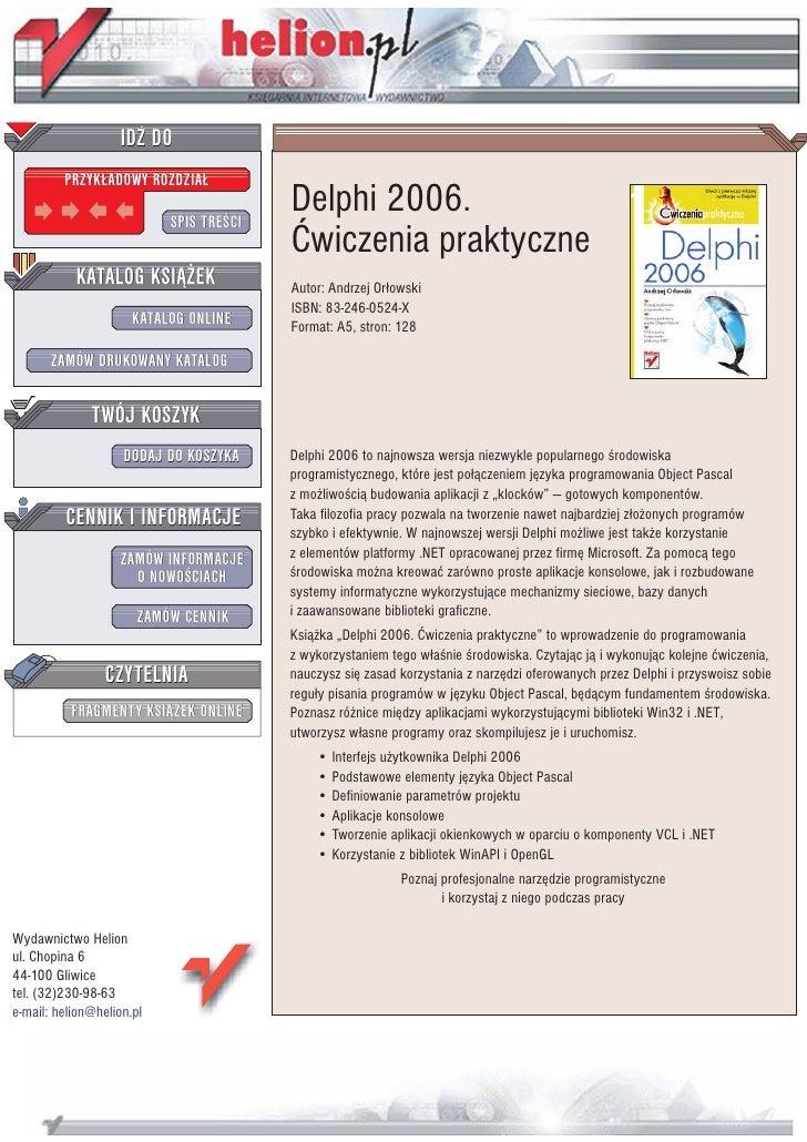 Delphi 2006. Ćwiczenia praktyczne