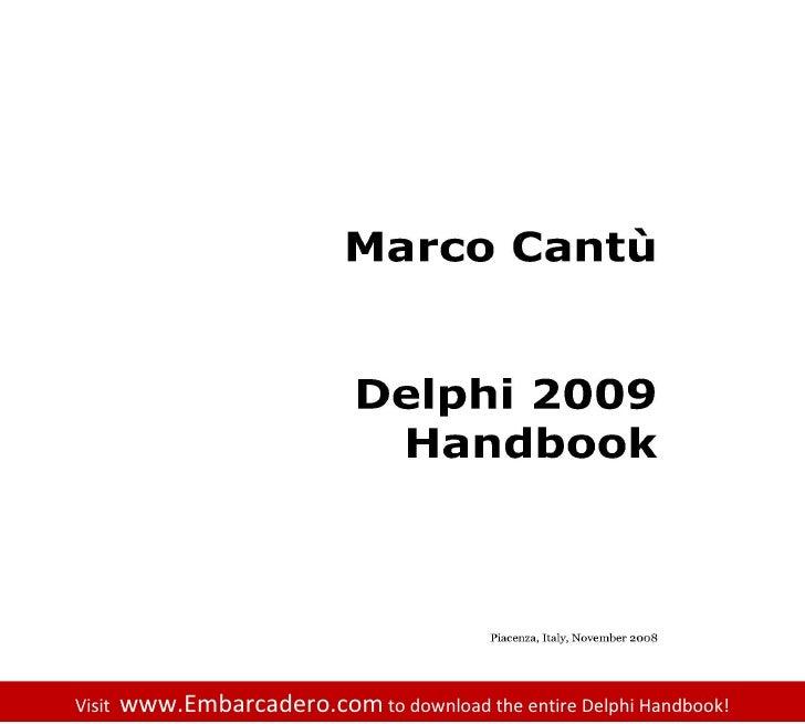 The Delphi 2009 Handbook by Marco Cantu