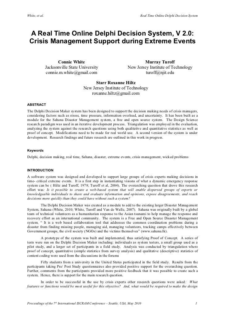 White, et al.                                                                 Real Time Online Delphi Decision System     ...