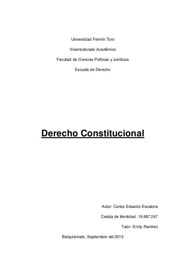Universidad Fermín Toro Vicerrectorado Académico Facultad de Ciencias Políticas y Jurídicas Escuela de Derecho Derecho Con...