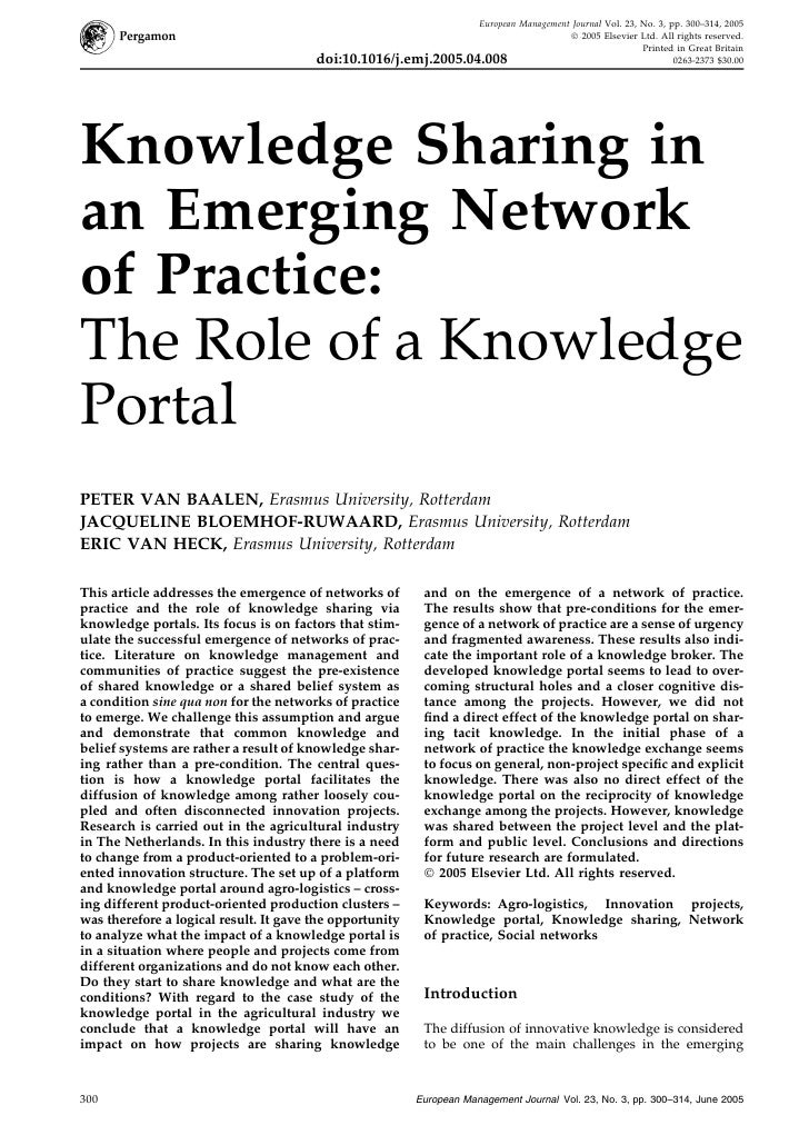 Knowledge Sharing in an Emerging Network of Practice