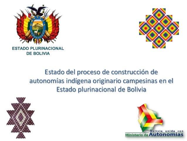 Estado del proceso de construcción de autonomías indígena originario campesinas en el Estado plurinacional de Bolivia