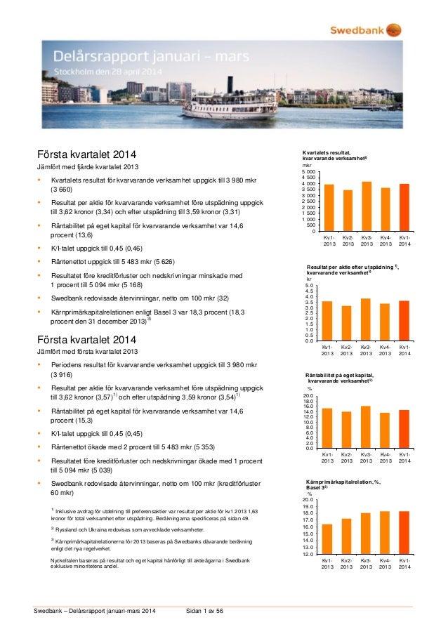 Swedbank – Delårsrapport januari-mars 2014 Sidan 1 av 56 Första kvartalet 2014 Jämfört med fjärde kvartalet 2013  Kvartal...
