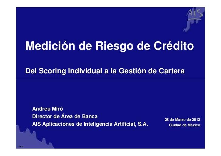Group        Medición de Riesgo de Crédito        Del Scoring Individual a la Gestión de Cartera         Andreu Miró      ...