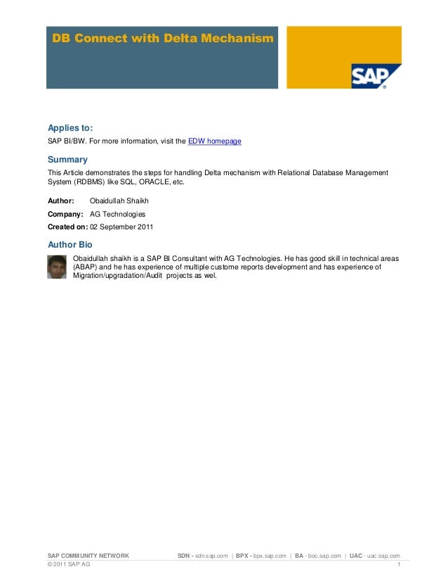 SAP COMMUNITY NETWORK SDN - sdn.sap.com | BPX - bpx.sap.com | BA - boc.sap.com | UAC - uac.sap.com© 2011 SAP AG 1DB Connec...