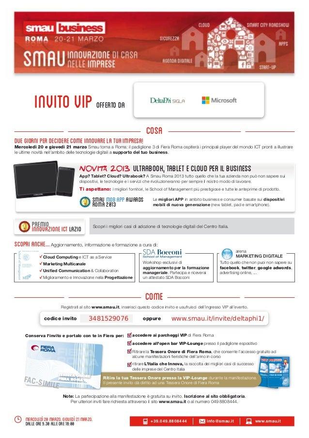 Invito VIP a SMAU 2013 Roma 20 21 Marzo