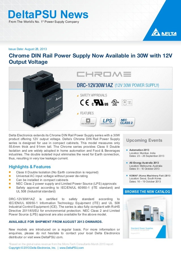 Issue Date: August 28, 2013 DeltaPSU NewsFrom The World's No. 1* Power Supply Company Copyright © 2013 Delta Electronics, ...