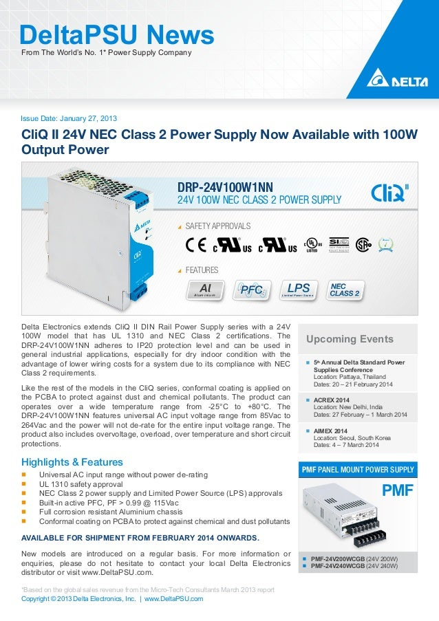 DeltaPSU News From The World's No. 1* Power Supply Company  Issue Date: January 27, 2013  CliQ II 24V NEC Class 2 Power Su...