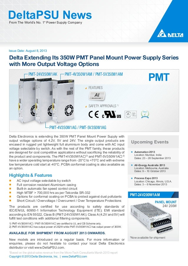 Delta Extending Its 350W PMT Panel Mount Power Supply Series with More Output Voltage Options