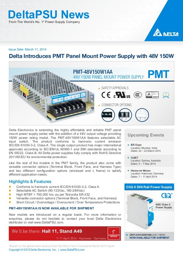 Delta Introduces PMT Panel Mount Power Supply with 48V 150W