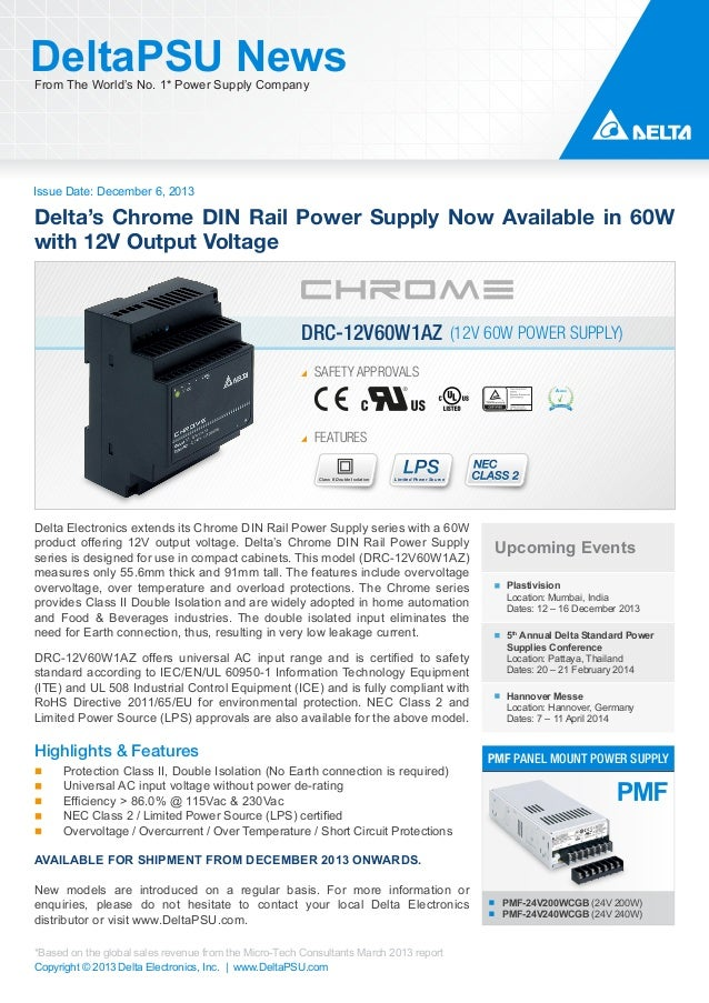 Delta's Chrome DIN Rail Power Supply Now Available in 60W with 12V Output Voltage