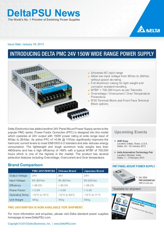 DeltaPSU NewsThe World's No. 1 Provider of Switching Power SuppliesIssue Date: January 18, 2013 INTRODUCING DELTA PMC 24V ...