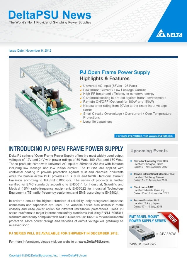 DeltaPSU NewsThe World's No. 1 Provider of Switching Power SuppliesIssue Date: November 9, 2012                           ...