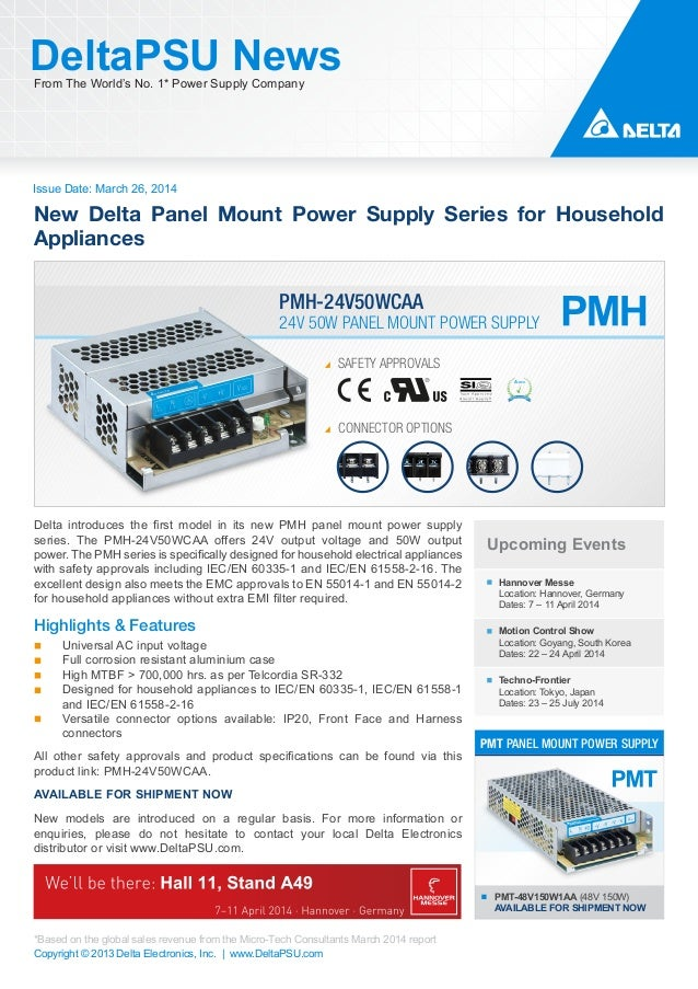 New Delta PMH Panel Mount Power Supply Series for Household Appliances