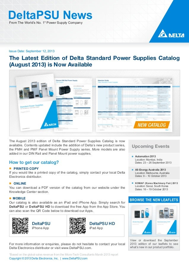 Issue Date: September 12, 2013 DeltaPSU NewsFrom The World's No. 1* Power Supply Company Copyright © 2013 Delta Electronic...