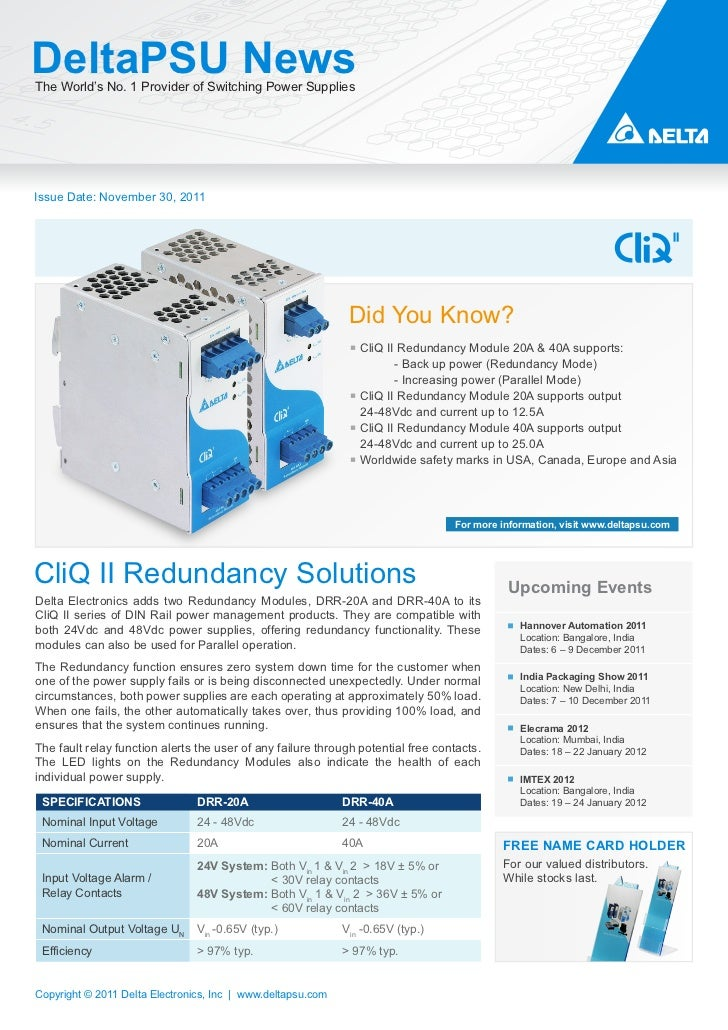 DeltaPSU E-News CliQ II Redundancy Solutions