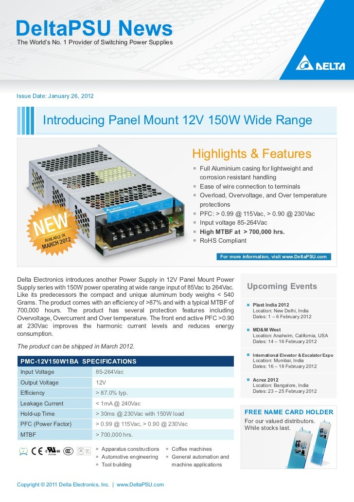 DeltaPSU NewsThe World's No. 1 Provider of Switching Power SuppliesIssue Date: January 26, 2012          Introducing Panel...