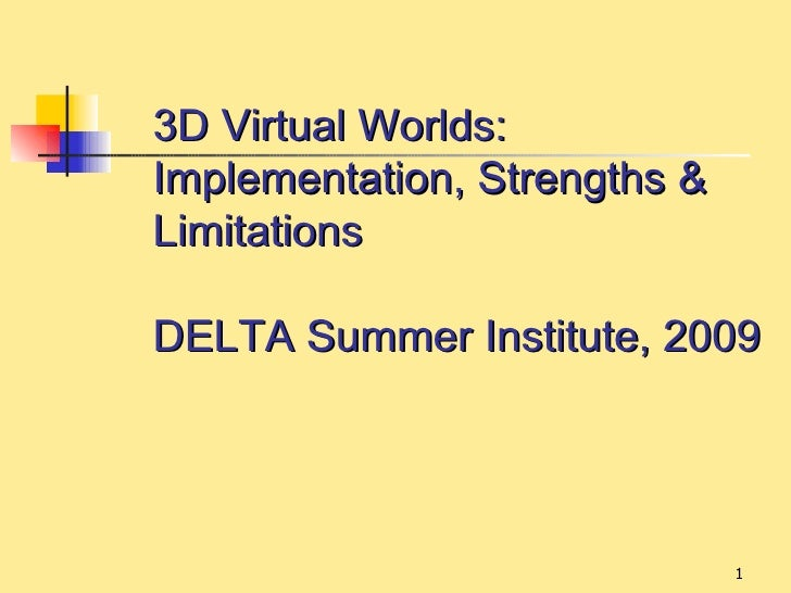 3D Virtual Worlds:Implementation, Strengths &LimitationsDELTA Summer Institute, 2009                              1