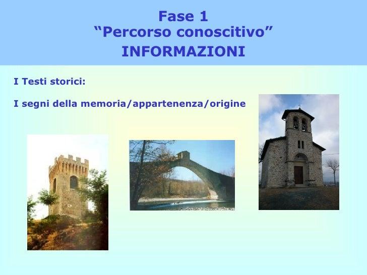 """Fase 1 """"Percorso conoscitivo"""" INFORMAZIONI I Testi storici: I segni della memoria/appartenenza/origine"""