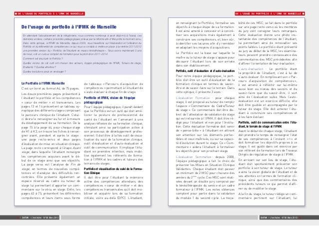 DE L'USAGE DU PORTFOLIO À L'IFMK DE MARSEILLE DE L'USAGE DU PORTFOLIO À L'IFMK DE MARSEILLE SNIFMK   L'Institulien - N°06 ...